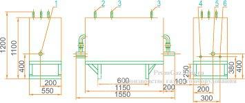 Габаритная схема ГРУ(ШРП)-05-2У1