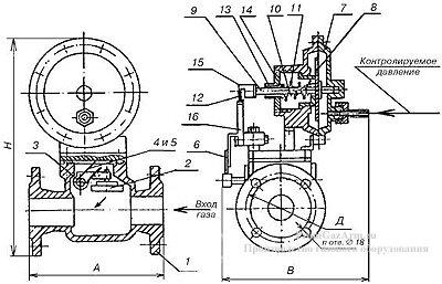 Схема клапана КПЗ-50Н, КПЗ-100Н, КПЗ-50С, КПЗ-100С, КПЗ-50В, КПЗ-100В