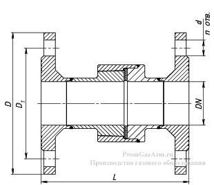 Схема соединения изолирующие стальные полнопроходные СИ-Ф фланцевые
