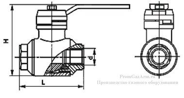 Схема газового крана шарового ГШК муфтовый