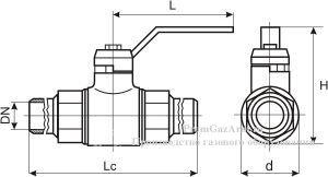 Газовые краны шаровые ГШК под приварку (чертеж)