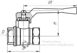 Схема крана шарового латунного 11Б27П А10, г/г, рычаг (газ)