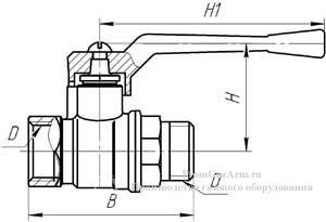 Схема крана шарового латунного 11Б27П А11
