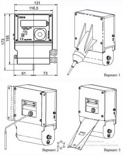 Схема монтажа корректора ТС210 на трубопровод