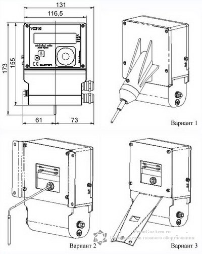 Схема монтажа корректора ТС210