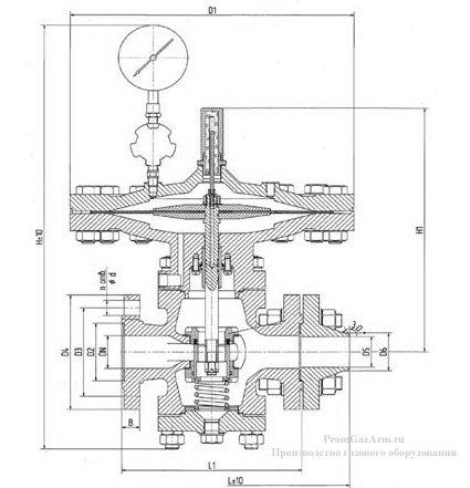 Общий вид и габаритные размеры РД-80 Ду 50, 80, 100 мм