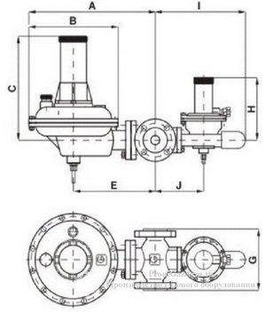 Габаритная схема регуляторов давления газа 122-BV GasTeh