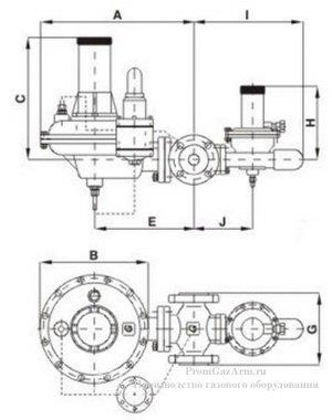 Габаритная схема регулятора давления газа 131-BV GasTeh