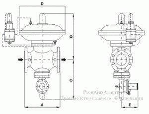 Габаритная схема регулятора давления газа 139-BV GasTeh